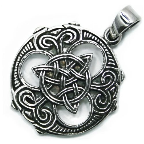 Pagan Wheel Celtic Shield Silver Pendant (P058)